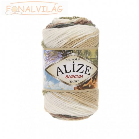 Alize BURCUM BATIK -Fehér,földzöld,drapp,barna melír