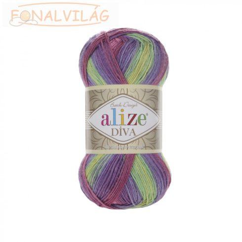 Alize DÍVA BATIK - Sárga-lila-bordó-rózsaszín melír