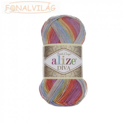 Alize DÍVA BATIK - Kék-zöld-lila-sárga-szürke melír