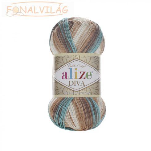 Alize DÍVA BATIK -Fehér-barna-kék melír