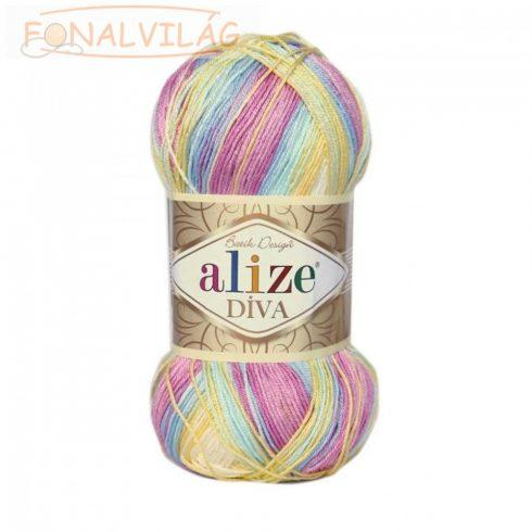 Alize DÍVA BATIK -Halvány rózsaszín-kék-sárga melír