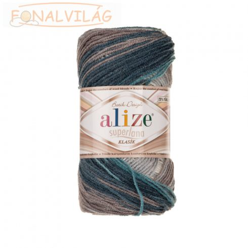 Superlana Klasik BATIK - Kék-türkiz-szürke-tört fehér melír