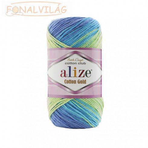 Alize COTTON GOLD BATIK - Kék/lila/sárgászöld/zöld