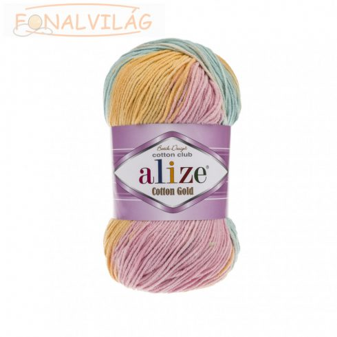 Alize COTTON GOLD BATIK - Drapp-sárga-rózsaszín-kék melír